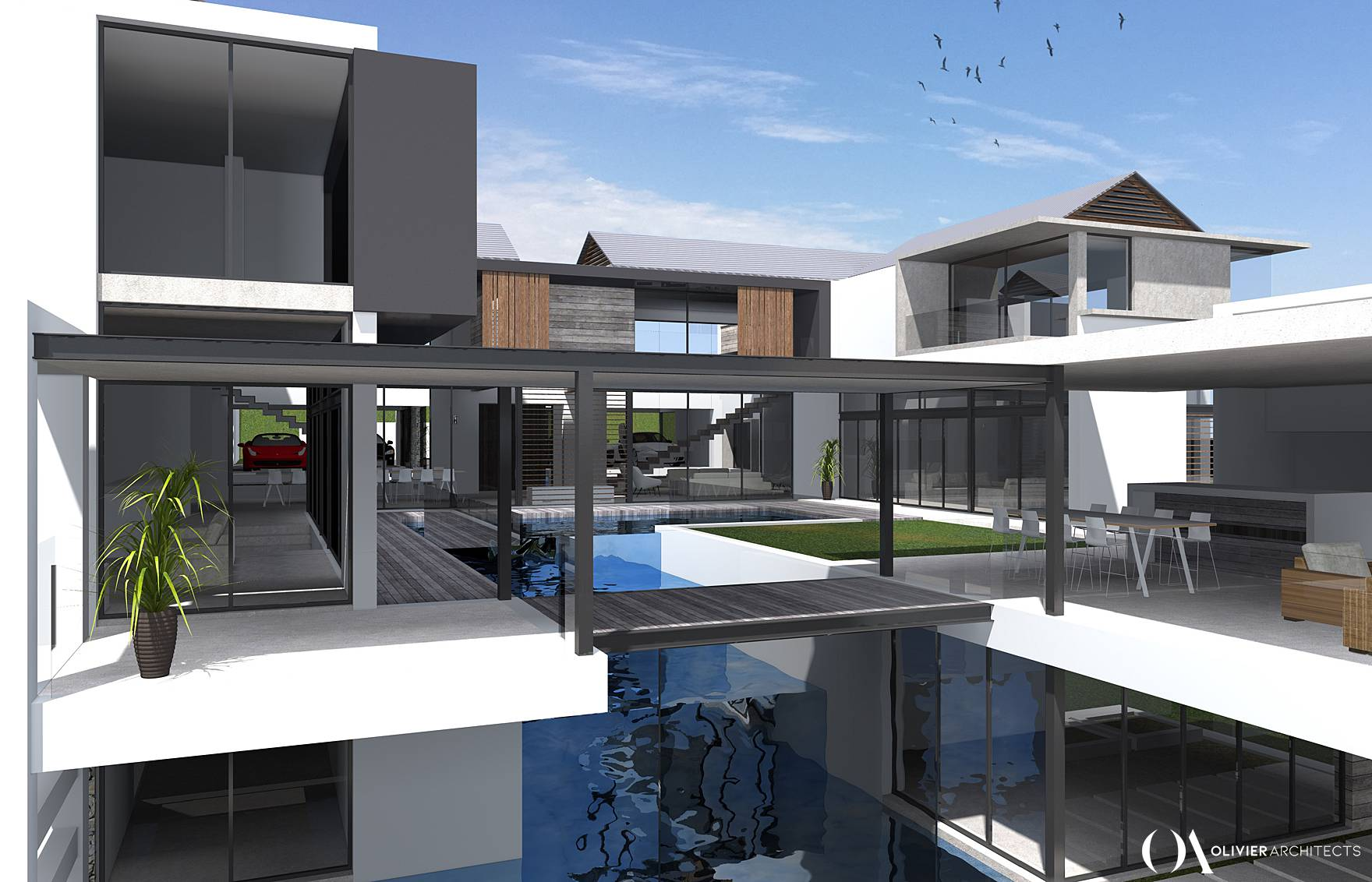 Johannesburg Contemporary Lifestyle Estate Architecture, Luxury home, Water courtyard, Olivier Architects