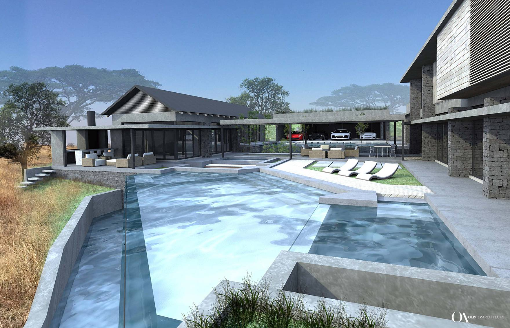 Contemporary Johannesburg Estate Architecture, House Designs, South Africa, Olivier Architects