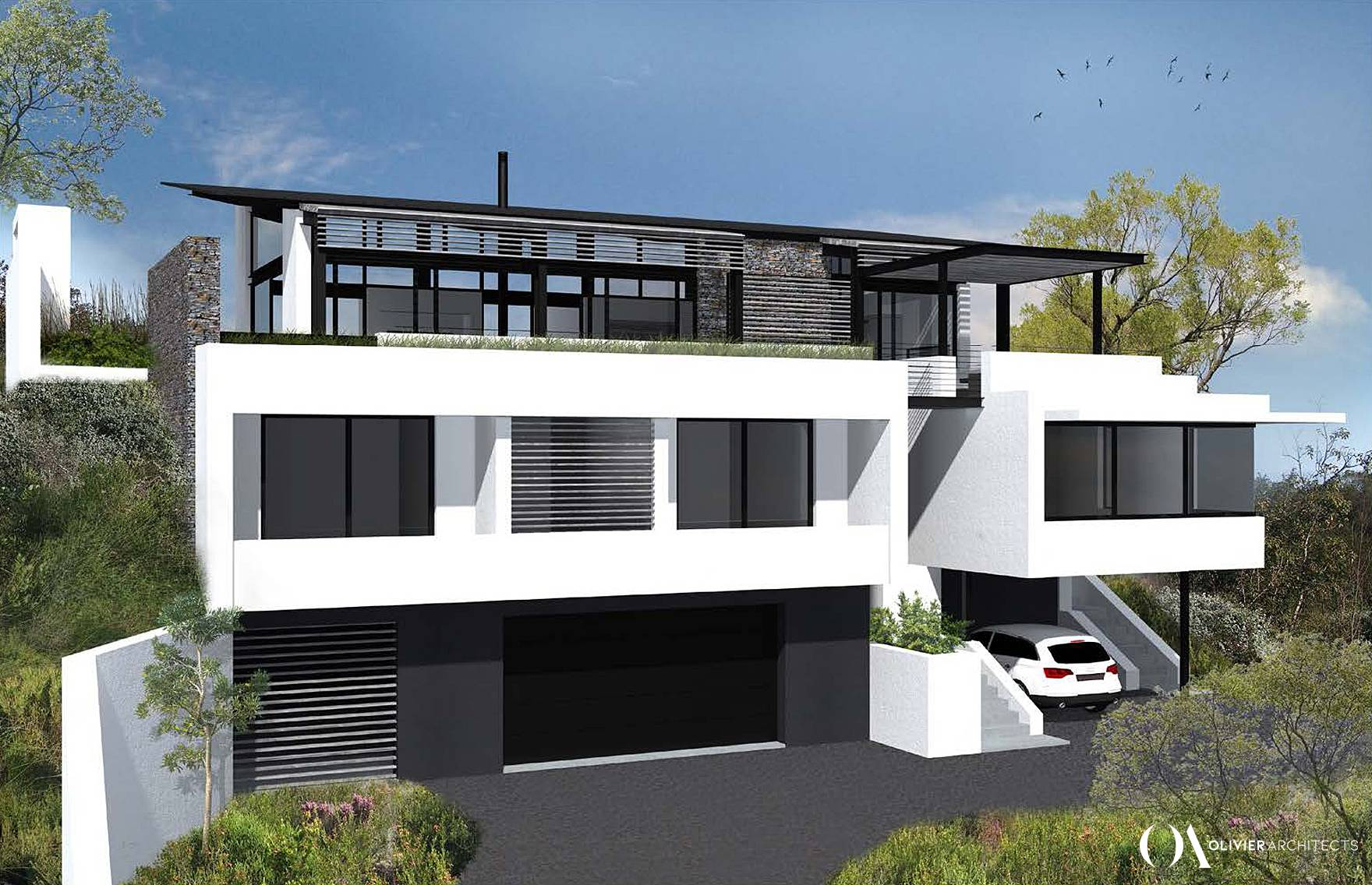 Modern minimalist Architecture, glass, steel, knysna heads, top architects knysna, Olivier Architects