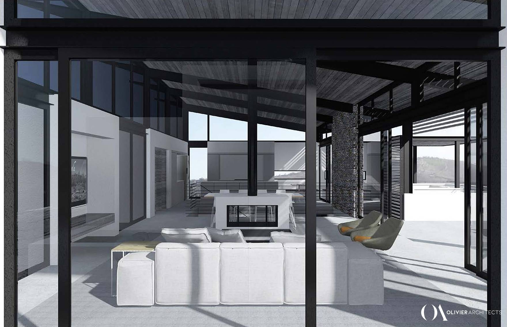 Modern minimalist Architecture, glass, steel, knysna heads, top architects knysna, Olivier Architects